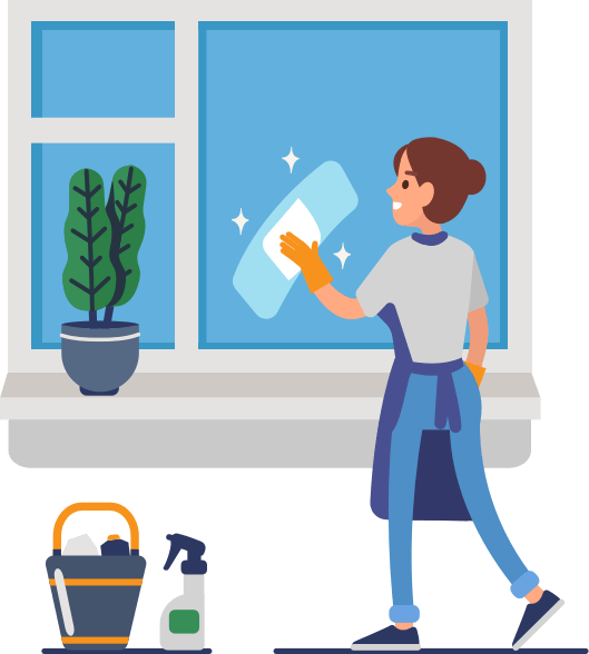 A cartoon woman cleans a window with environmentally clean products