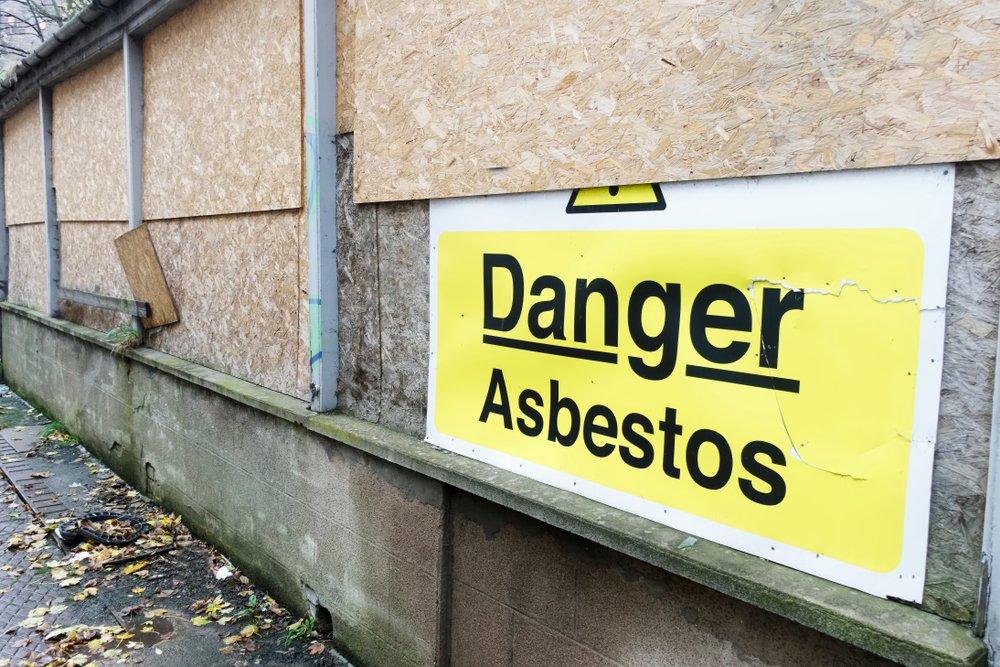 asbestos danger sign at home