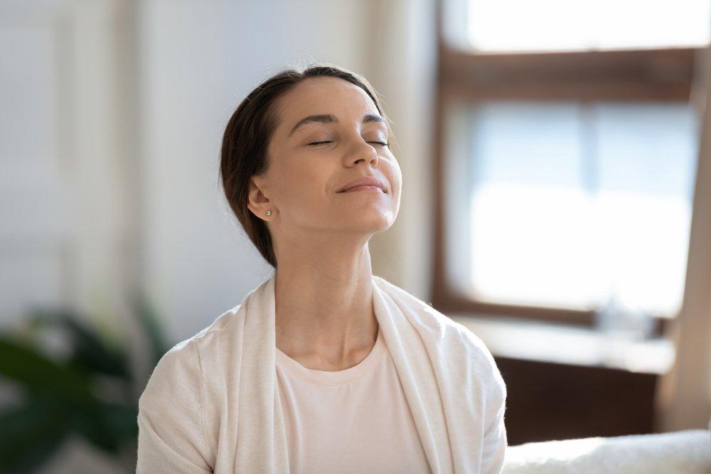 woman breathing indoor air